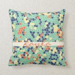 Mosaico enrrollado abstracto anaranjado colorido d almohadas