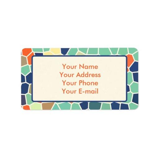 Mosaico enrrollado abstracto anaranjado colorido d etiqueta de dirección