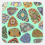 Mosaico español y mexicano de la teja calcomanía cuadrada
