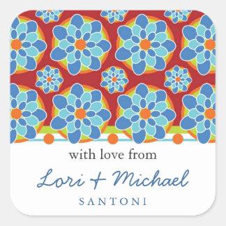 Mosaico, etiquetas del regalo del estampado de pegatina cuadrada