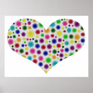 Mosaico floral del corazón poster