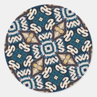 Mosaico fósil del camino pegatina redonda