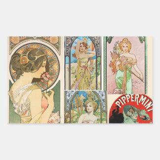 Mosaico francés del arte de las mujeres de Nouveau Rectangular Altavoz