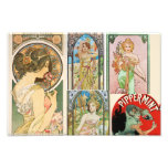 Mosaico francés del arte de las mujeres de Nouveau Impresion Fotografica