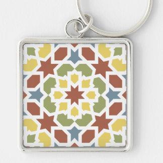 Mosaico geométrico de arabescos de Marruecos. Llavero Cuadrado Plateado
