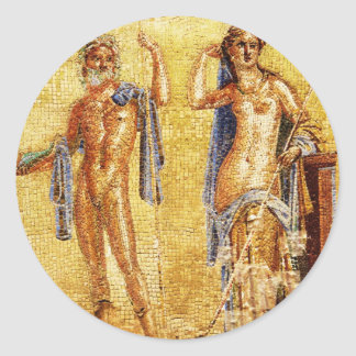 Mosaico HERMOSO de Pompeya Pegatina Redonda