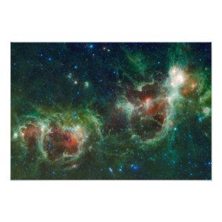 Mosaico infrarrojo de las nebulosas del corazón y cojinete