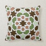Mosaico marroquí de trazado geométrico en cojines