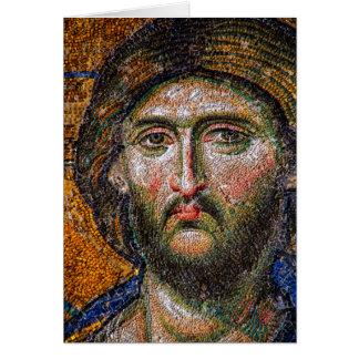 Mosaico medieval del retrato del Jesucristo del Tarjeta Pequeña