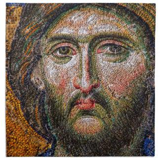 Mosaico medieval del retrato del Jesucristo del vi Servilleta Imprimida