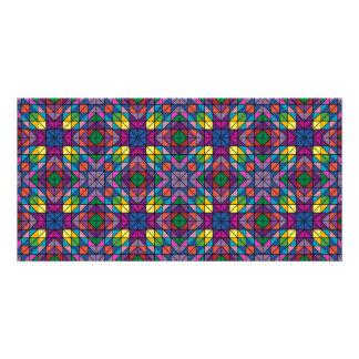 Mosaico multicolor tarjeta personal con foto