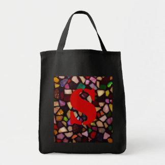 Mosaico negro multicolor bolsa tela para la compra