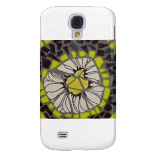 Mosaico negro y amarillo de la flor carcasa para galaxy s4