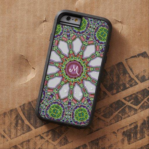 Mosaico púrpura de la flor de la margarita blanca funda de iPhone 6 tough xtreme