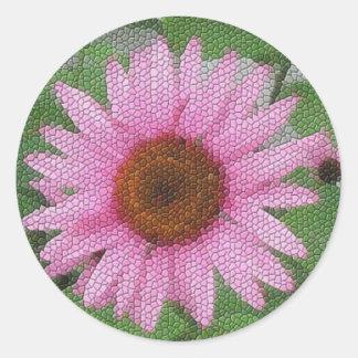 Mosaico púrpura del coneflower pegatina redonda