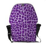 Mosaico púrpura del modelo de la jirafa bolsa de mensajería