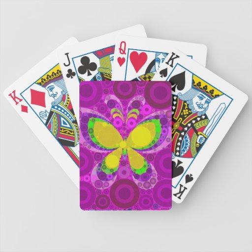 Mosaico púrpura fresco de los círculos concéntrico baraja cartas de poker