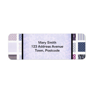 Mosaico púrpura y blanco etiqueta de remitente