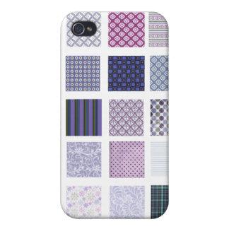 Mosaico púrpura y blanco iPhone 4/4S funda