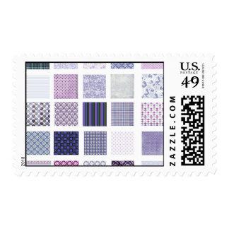Mosaico púrpura y blanco franqueo