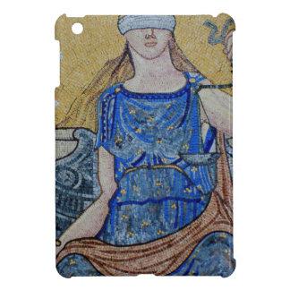 Mosaico redondo del medallón de la justicia ciega