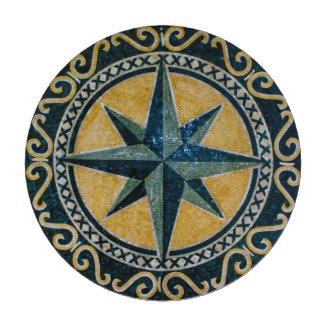 Mosaico redondo del medallón del compás verde de juego de fichas de póquer