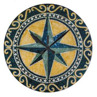 Mosaico redondo del medallón del compás verde de reloj redondo grande