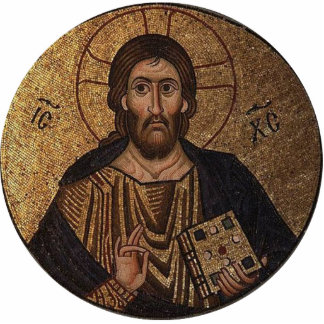 Mosaico religioso de Cristo Pantocrator Fotoescultura Vertical