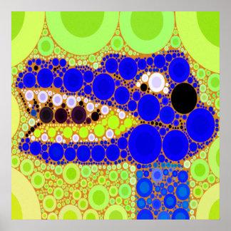 Mosaico retro de los círculos del cocodrilo azul d póster