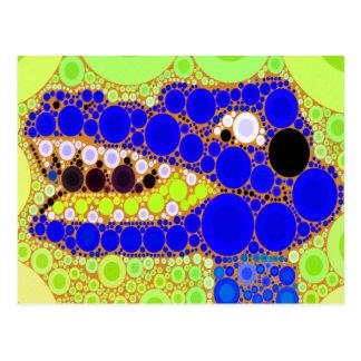 Mosaico retro de los círculos del cocodrilo azul tarjetas postales