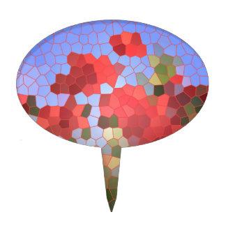 Mosaico rojo abstracto del vitral del cielo azul d decoración de tarta