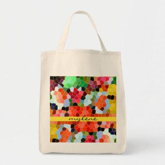 Mosaico rojo amarillo colorido del vitral bolsa