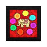 Mosaico rojo enrrollado de los círculos concéntric caja de recuerdo