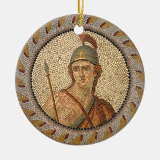 Mosaico romano del soldado adorno navideño redondo de cerámica