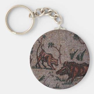 Mosaico romano llavero redondo tipo pin
