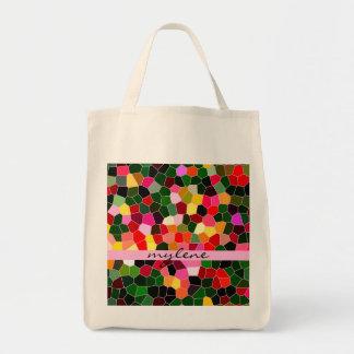 Mosaico rosado verde colorido del vitral abstracto bolsa de mano