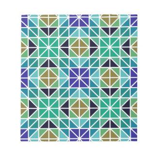 Mosaico tejado de repetición azul del triángulo bloc de papel