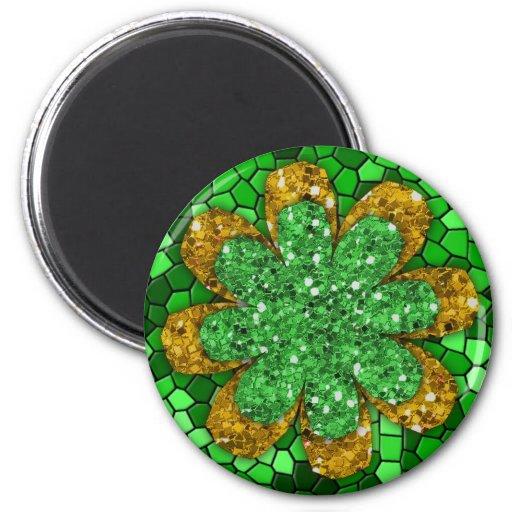 Mosaico verde imán redondo 5 cm
