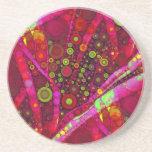Mosaico vibrante del círculo concéntrico de las ro posavasos diseño