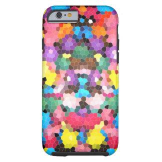 Mosaico vivo del caramelo del arco iris del vitral funda de iPhone 6 tough