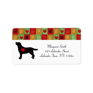 Mosaico y corazones negros del esquema de Labrador Etiquetas De Dirección