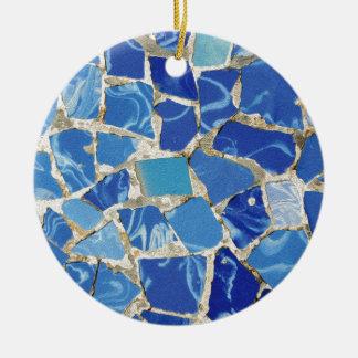 Mosaicos de Gaudi con un tacto del aceite Adorno Navideño Redondo De Cerámica