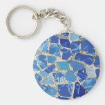 Mosaicos de Gaudi con un tacto del aceite Llavero Redondo Tipo Pin