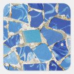 Mosaicos de Gaudi con un tacto del aceite Pegatina Cuadrada