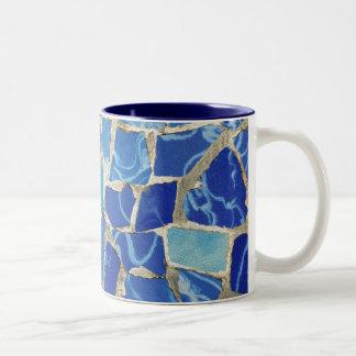 Mosaicos de Gaudi con un tacto del aceite Tazas De Café