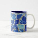 Mosaicos de Gaudi con un tacto del aceite Taza De Café De Dos Colores