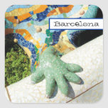 Mosaicos de la mano del lagarto de Barcelona Pegatina Cuadrada