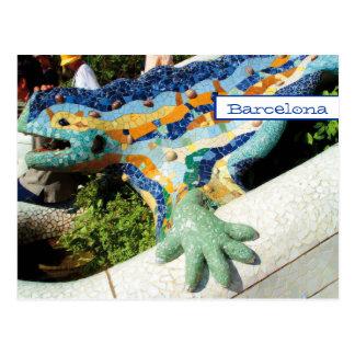 Mosaicos de la mano del lagarto de Barcelona Tarjeta Postal