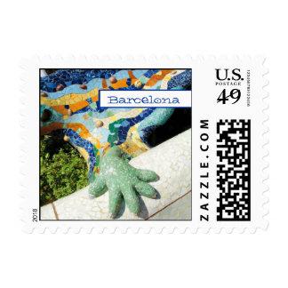 Mosaicos de la mano del lagarto de Barcelona Timbre Postal