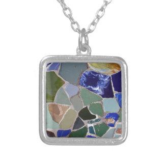Mosaicos del azul de Antonio Gaudi Colgante Cuadrado